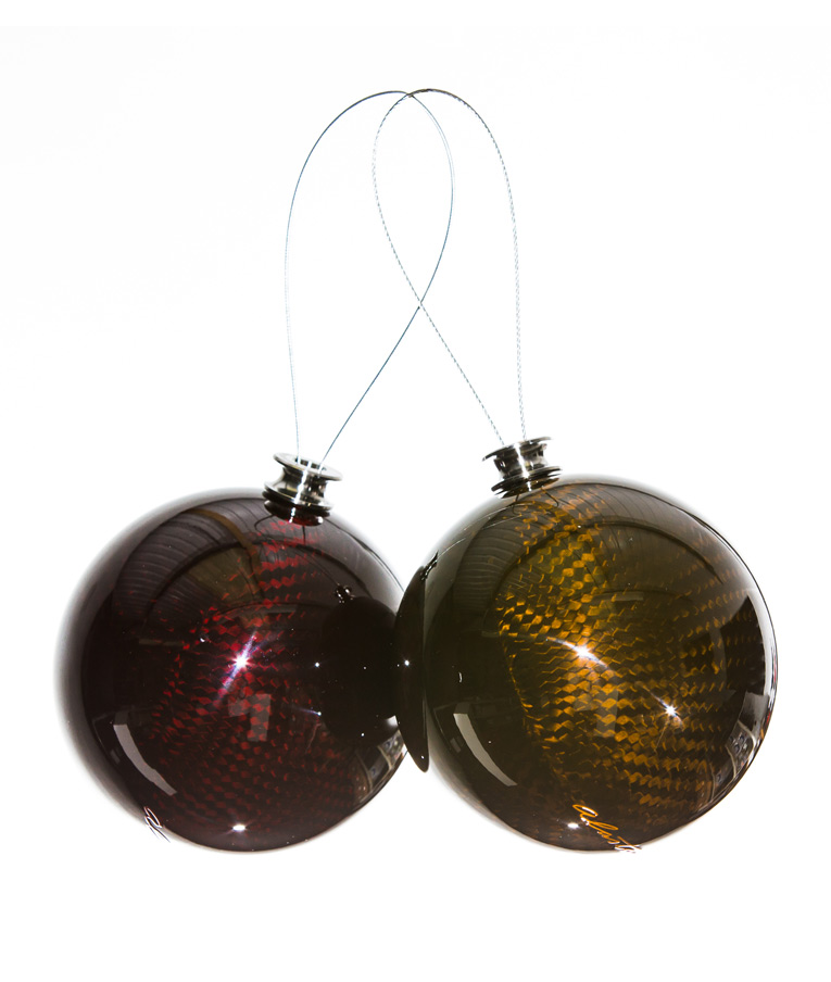 Red and Gold Carbon fibre Christmas Baubles
